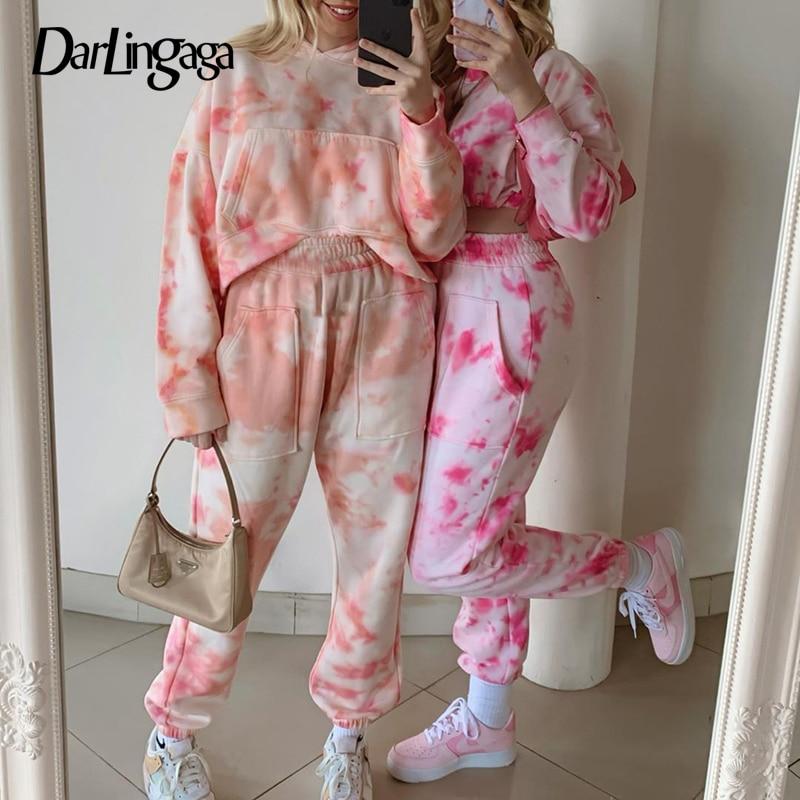 Darlingaga Fashion Tie Dye Sweatpants Women Joggers High Waist Pants Pockets Streetwear Baggy Harem Pants Bottom Pantalon Femme