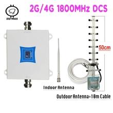 Zqtmax dcs 1800 lte 4g rede impulsionador gsm 1800mhz repetidor banda 3 amplificador de sinal celular + 13dbi yagi antena