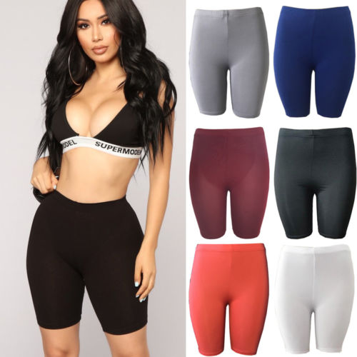 Women Gym Shorts Plain Sports Fitness Skinny Slim Stretch Hot Spotswear Solid Color Elastic Material Pressure Release