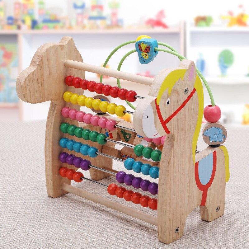 En bois multi-fonction flip poney couleur perles calcul cadre enfants éducation précoce jouets éducatifs M120