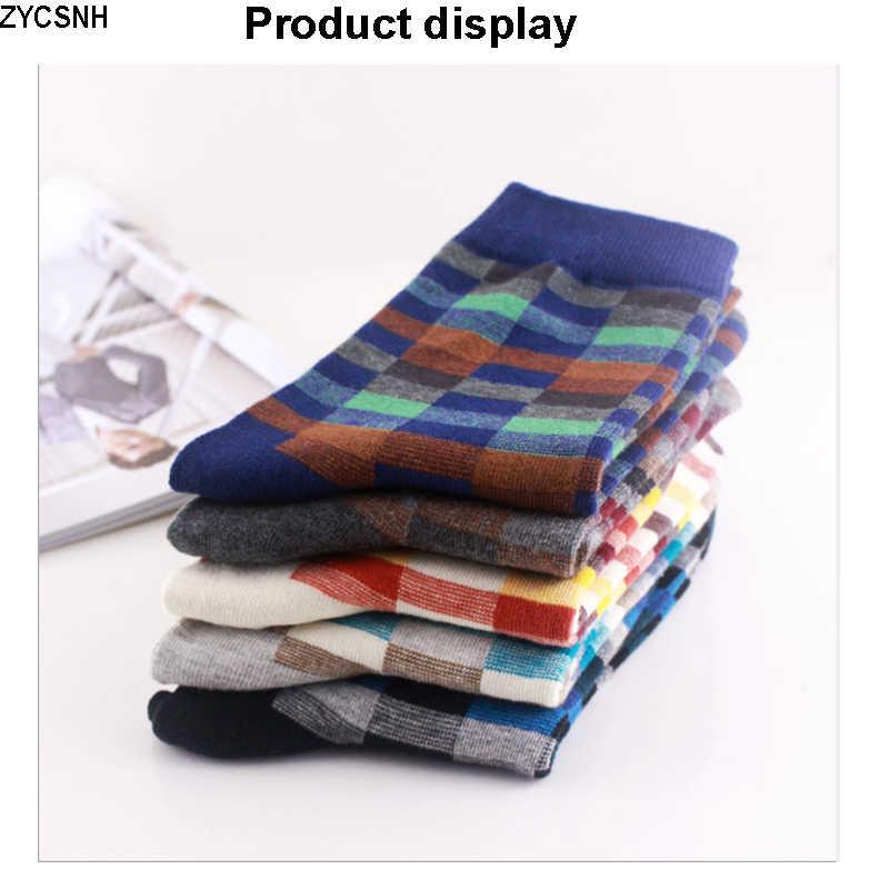 2020 Mới Cotton Chải Kỹ Tất Vớ Nam Thời Trang Nhiều Màu Sắc Vuông Áo Hạnh Phúc Tất Vớ Nam Thu Đông Bông Tai Kẹp Nén SOX Size39-45