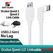 Cabo 5M 3M USB-C Óculo 2 Busca Link Cable USB3.2 Compatibilidade em Ângulo Recto-c 3.2Gen1 Velocidade de Transferência de Dados de Carga Rápida