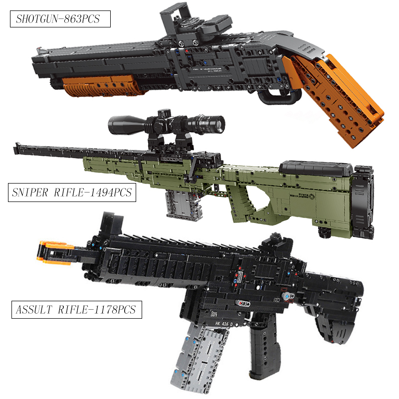 Assault Rifle compatible with Lepined Technic Guns SWAT Military Weapon Model Kit Building Blocks Bricks Toys For children Gifts
