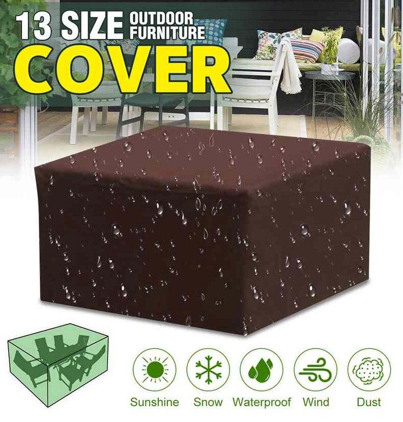 16 tamanhos brown impermeável ao ar livre pátio jardim mobiliário cobre 210d chuva neve cadeira capas sofá mesa cadeira à prova de poeira capa