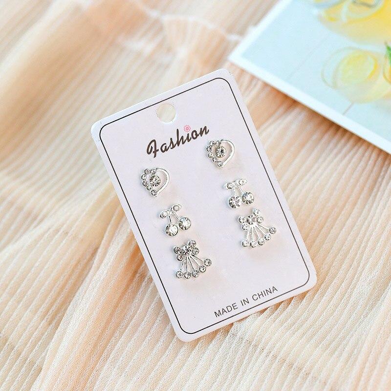 Luokey Trendy New Korea Stud Earrings Set Fashion Delicate Small Crystal Earrings For Women Girls Minimalist Simple Life Jewelry