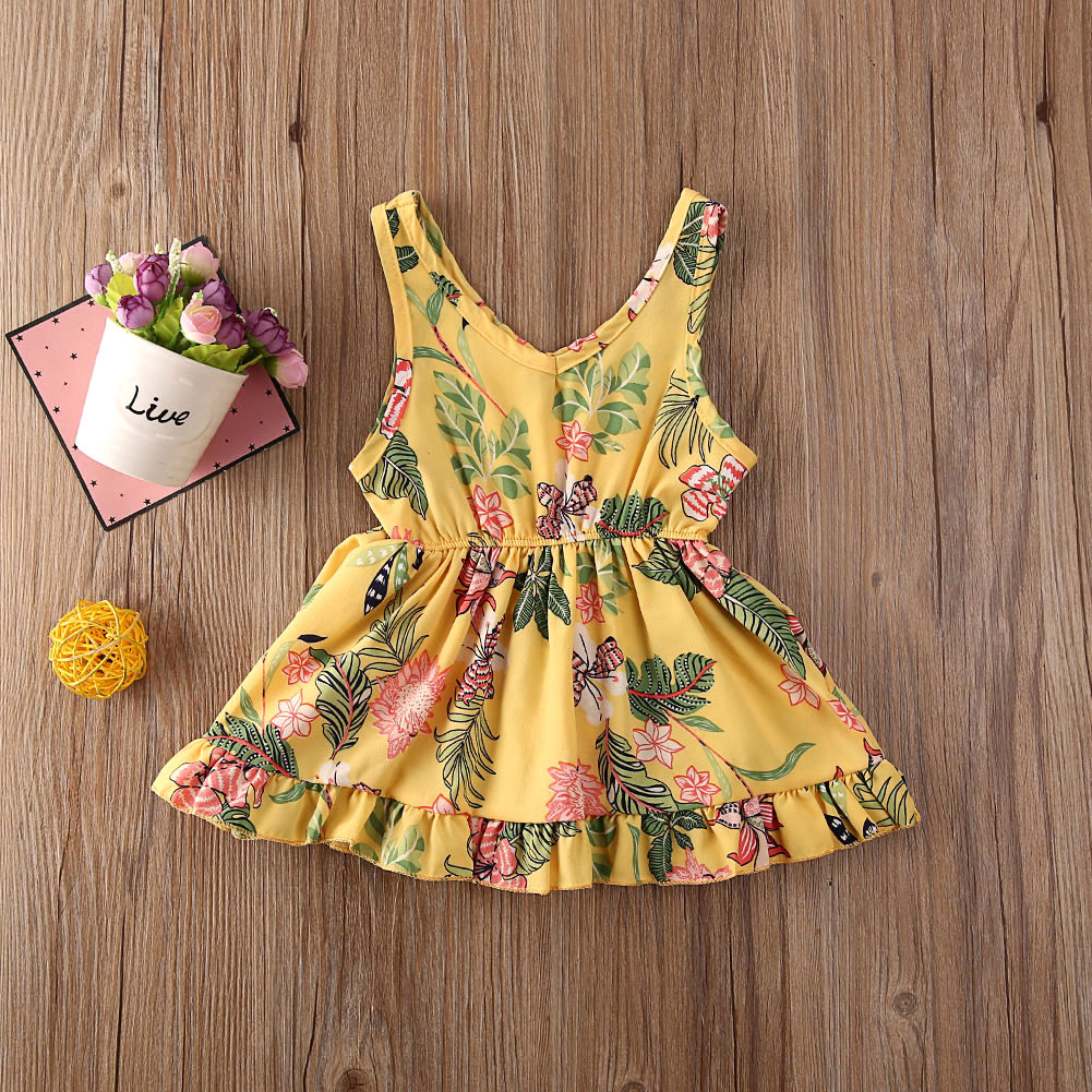 Pudcoco Toddler Baby Girl Clothes Flower Print Sleeveless Mini Tutu Dress Pageant Party Dress Cotton Clothes