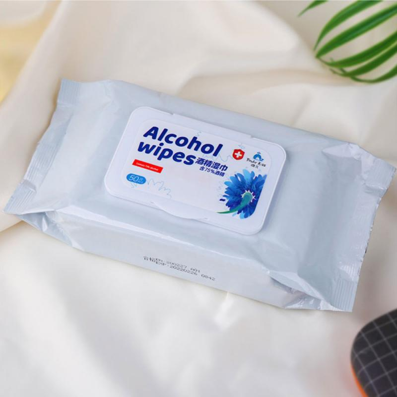 Portable 75% Alcohol Single Use Hand Sheets 50/Pack Alcohol Disinfection Swabs Pads Wipes For Car Home Antiseptic High Quality
