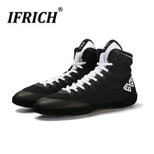 2019 Men Boxing Shoes Super Lightweit Breathable Wrestling Boots Male Wihte Black White Shoes for Boxing Sneakers Sport Trainers bull leather men wrestling shoes high boxing shoes rubber outsole breathable pro wrestling gear for men and women boxeo w0ii