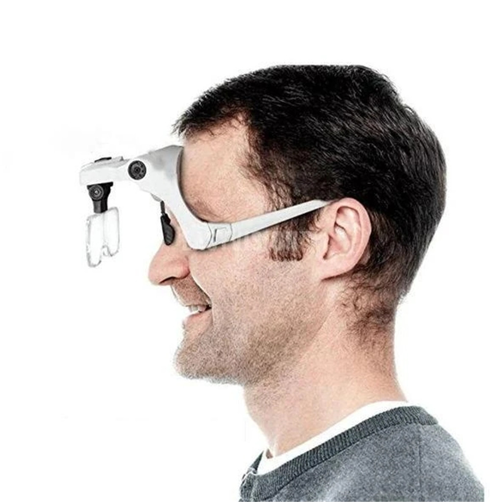 Magnifying Glasses Easy Vision Illuminated Head Magnifier Glasses LED Magnifying Louped Head Mount Interchangeable Lenses 1.13