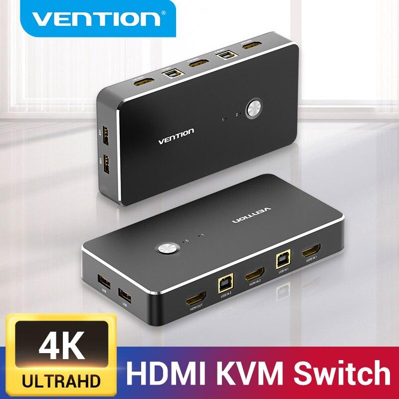 Vention HDMI KVM переключатель 2 порта USB KVM HDMI переключатель для совместного использования принтера клавиатура мышь 4K/60Hz KVM переключатель HDMI VGA