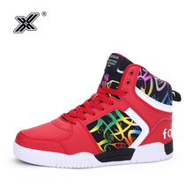 2019 Winter Red Printed High top Men's Sneakers Couple Fur Shoes