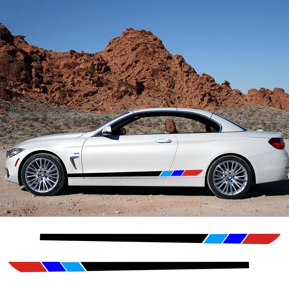 Vinyl BMW M-Colored Sideskirt Stripes stickers M3 M5 M6 E46 E39 E60 Z4 serie 1 3