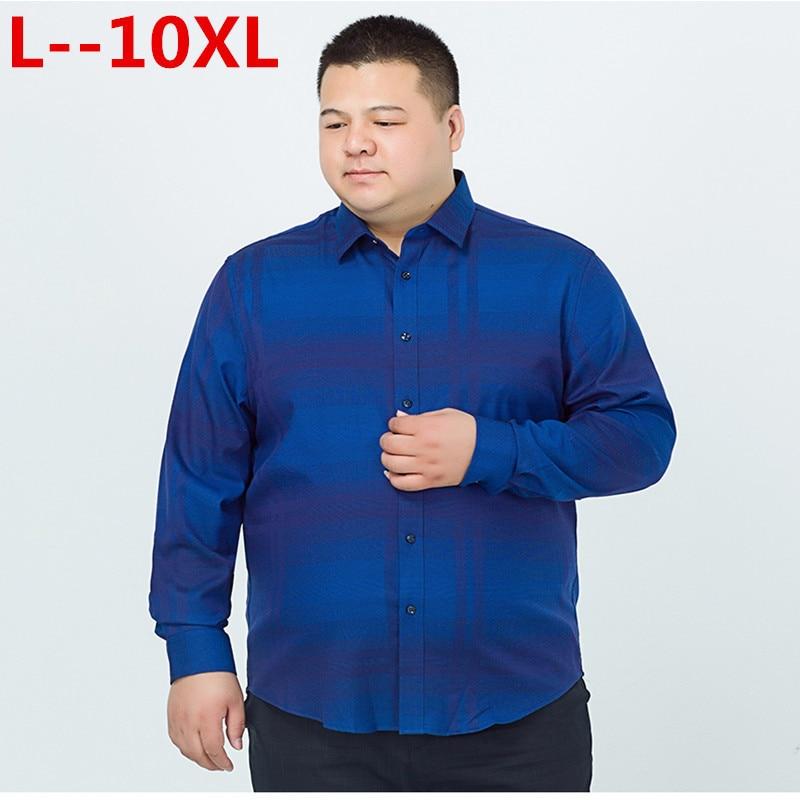 10XL 8XL 6XL 5XL  Casual Shirt Long Sleeve Cotton Oxford Striped Shirt Men Business Mens Dress Shirts Male Social Clothes