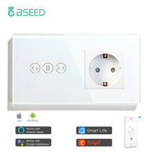 Bseed Touch Wifi Curtain Switch EU Standard Socket Without Wifi Black White Smart Wireless Glass Wall Switch Smart Life TUYA