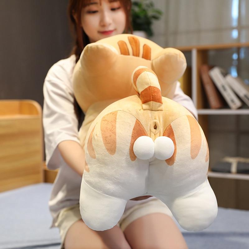 40-100cm gran tamaño gato trasero almohada lindo Animal de peluche muñeca de juguete para niños encantador suave sueño almohada regalo para niña