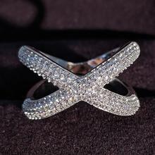 Твердые Оригинальные 925 пробы серебряные кольца для женщин X форма модное обручальное кольцо Вечность ювелирные изделия рождественские подарки R4810