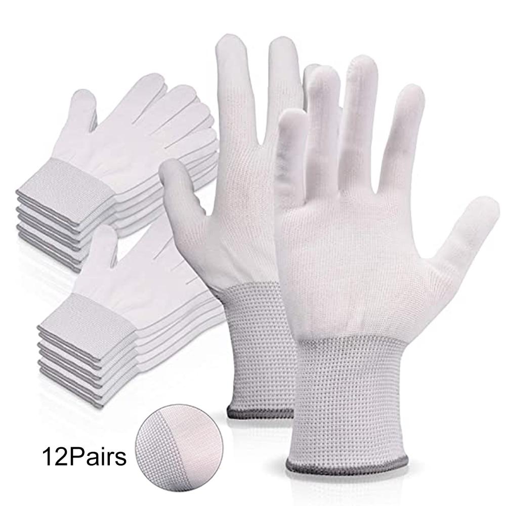 FOSHIO 4/12pairs Anti-static Window Tint Carbon Fiber Vinyl Car Wrap Sticker Film Install Gloves Auto Nylon Tinting Work Gloves