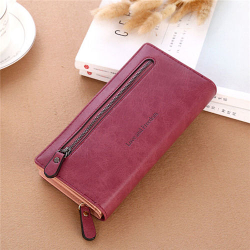 Women Wallet Love And Freedom Letters Printing  Lady Clutch Leather Purse Long Card Holder Phone Bag Case Purse Handbag Cartera
