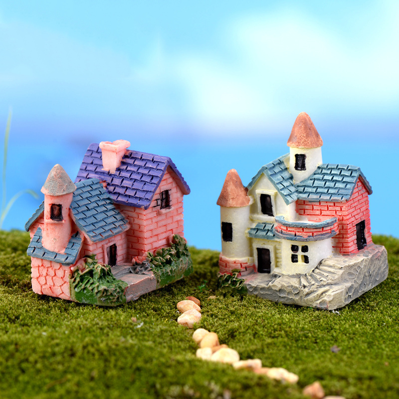 2PCS House Miniature Figurine Home Decoration for Mini Fairy Garden Cartoon Building Statue Resin Craft Doll