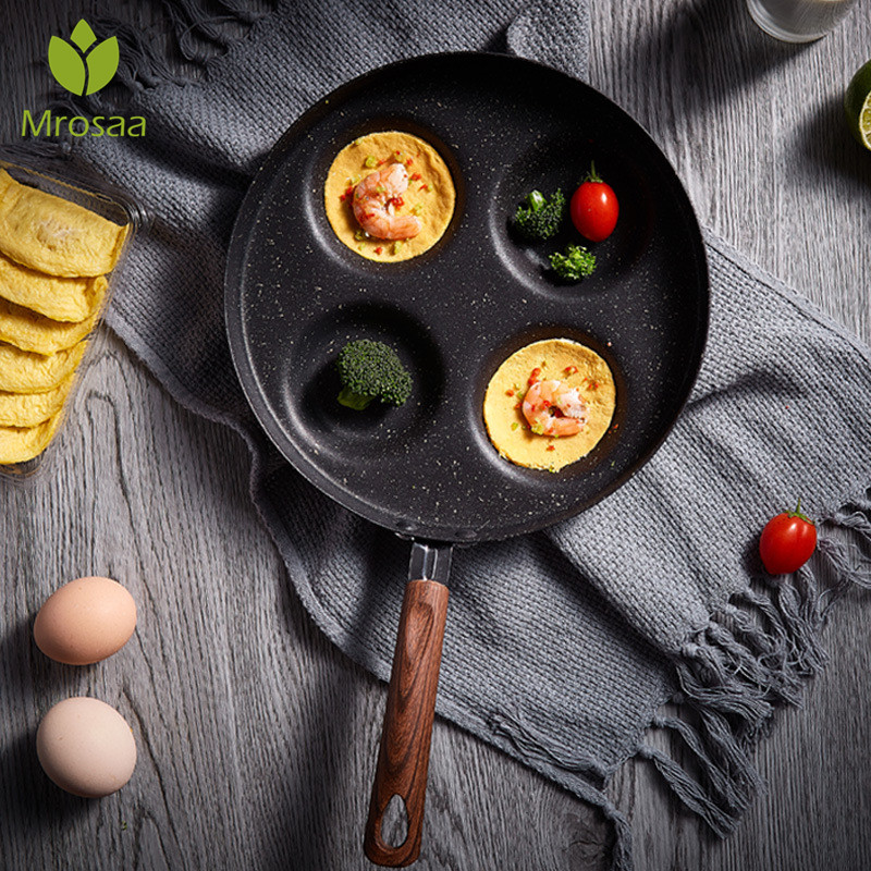 Four-hole Omelet Pan For Eggs Ham PanCake Maker Frying Pans Creative Non-stick No Oil-smoke Breakfast Grill Pan Cooking Pot