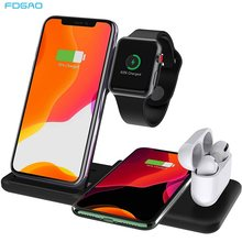 15W 4 In 1 Qi Wireless Charger Stand untuk IPhone 11 Pro Xs Max XR X 8 Airpods Pro apple Watch 5 4 3 2 Cepat Pengisian Dock Station(China)