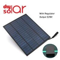 10 9 7 5 W 태양 전지 패널 18V 12V + 5V USB 출력 배터리 충전기 전압 조정기 휴대 전화 전원 은행 DC 5.5*2.1 태양 전지