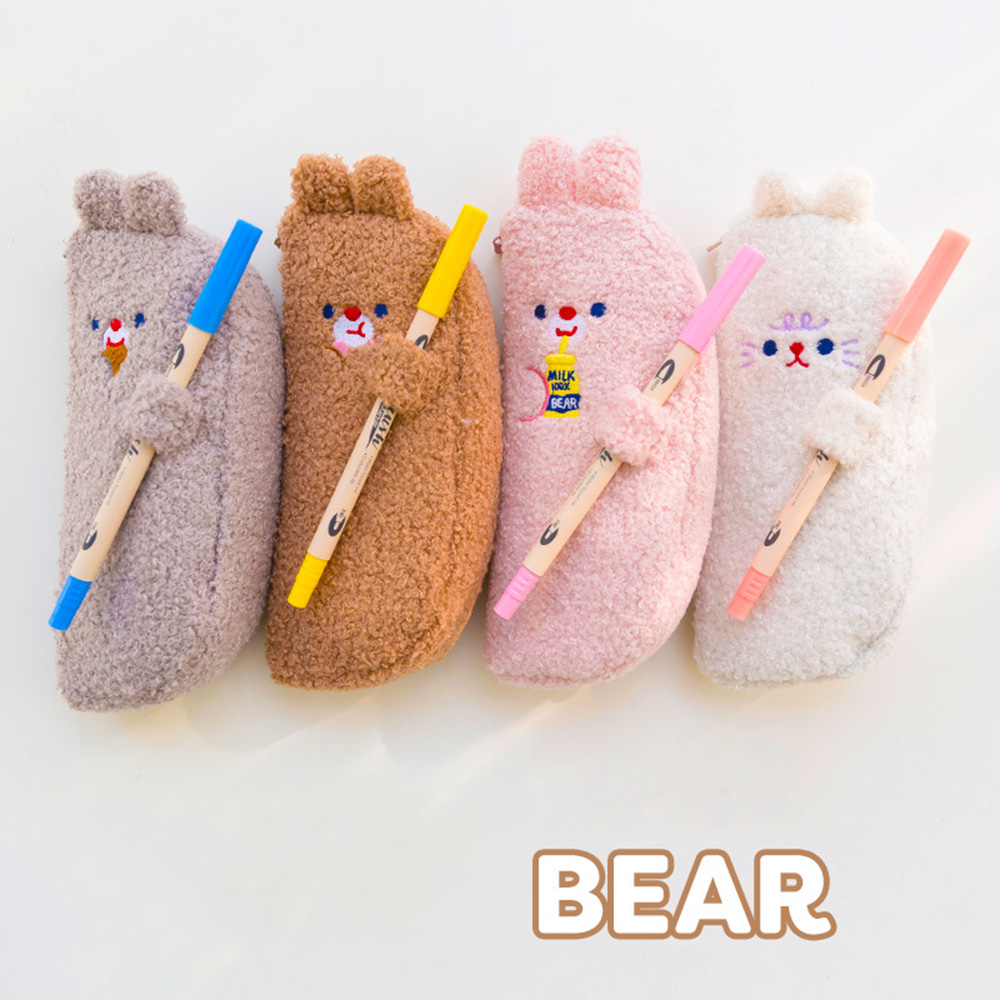 Cute School Pencil Case Kawaii Bear Pencilcase For Girls Boy Penal Large Pen Box Korean Plush Cartridge Bag Stationery Big Pouch