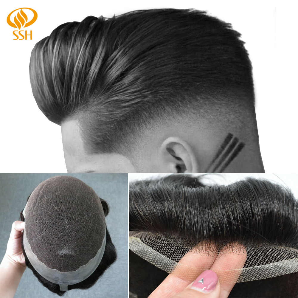 SSH Bleached Knots Hairpiece Remy Human Hair Prosthesis Breathable French Lace Frontal Base Mens Wig Toupee Replacement System