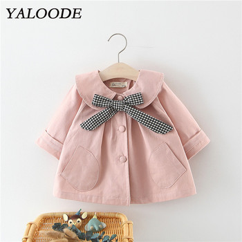 Spring Autumn New Baby Girl Jacket Plaid Bow Girls Windbreaker Fashion Children Outerwear Infant Toddler Coat Kids Clothes цена 2017