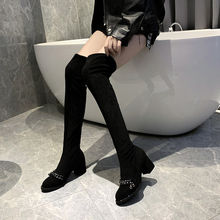 Suede long boots female 2019 new thick with velvet fashion retro trend boots(China)
