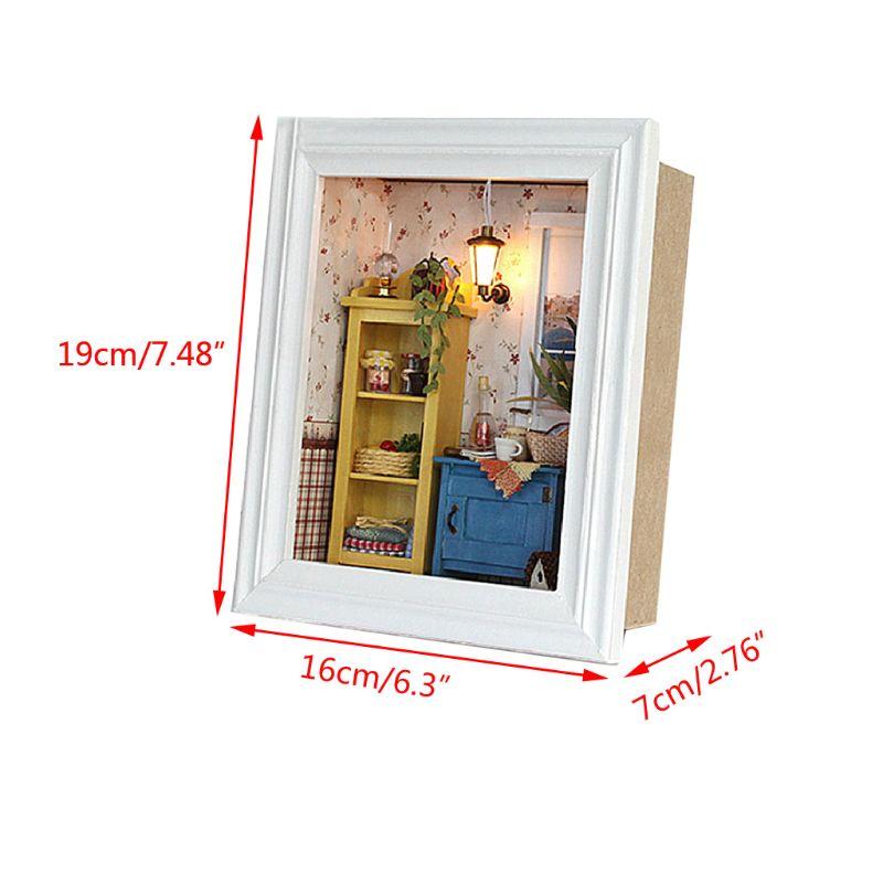 DIY Miniature Dollhouse Kit Photo Frame House Crafts Making Accessories P31B