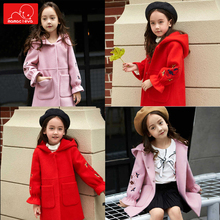 autumn winter girls woolen coat kids thick hooded children warm fashion clothing long outerwear