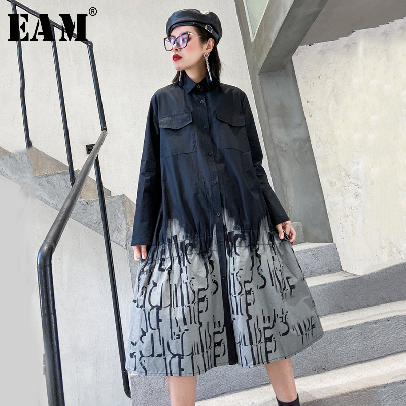 [EAM] Women Gray Printed Split Joint Big Size Shirt Dress New Lapel Long Sleeve Loose Fit Fashion Tide Spring Autumn 2020 1R498
