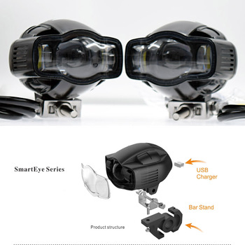 Motorcycle For Yamaha Universal Motorcycle Fog light 22-40mm IP65 LED Headlight lamp With USB Charger
