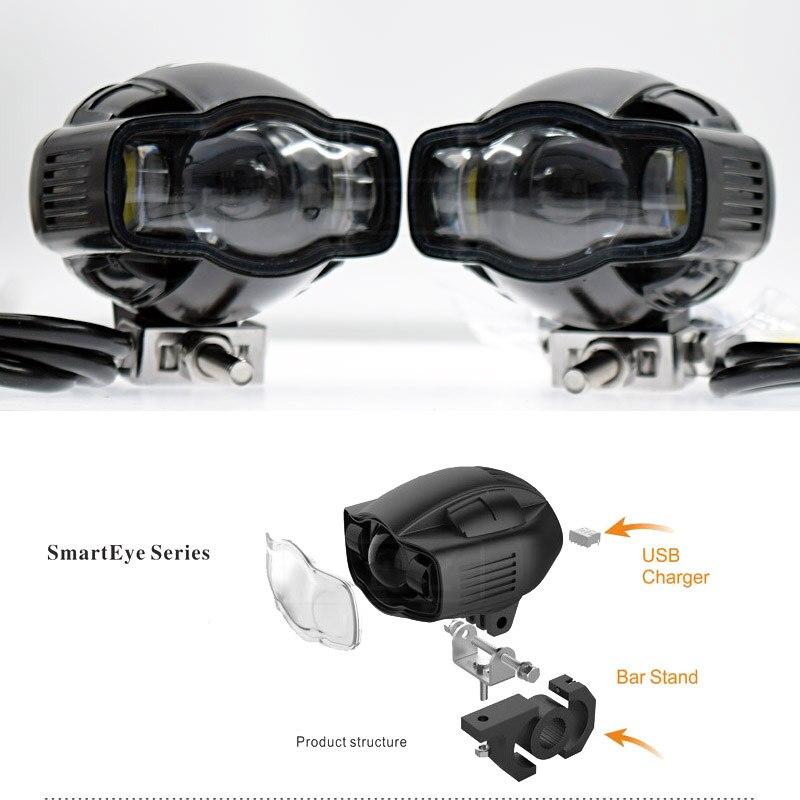 XVS 1100 moto pour Yamaha FZ1 XVS1100 FJR1300 moto voiture phare lampe LED Super lumineux antibrouillard lumière USB chargeur