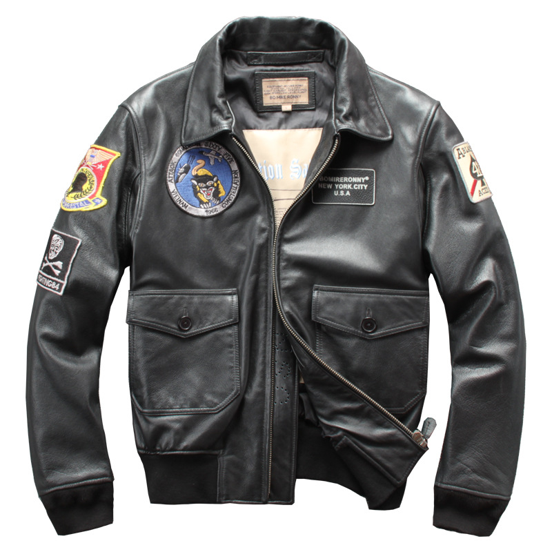 2019 Men's Genuine Leather Jacket Plus Size 5XL Cowhide Leather Coat Air Force Bomber Jacket For Male
