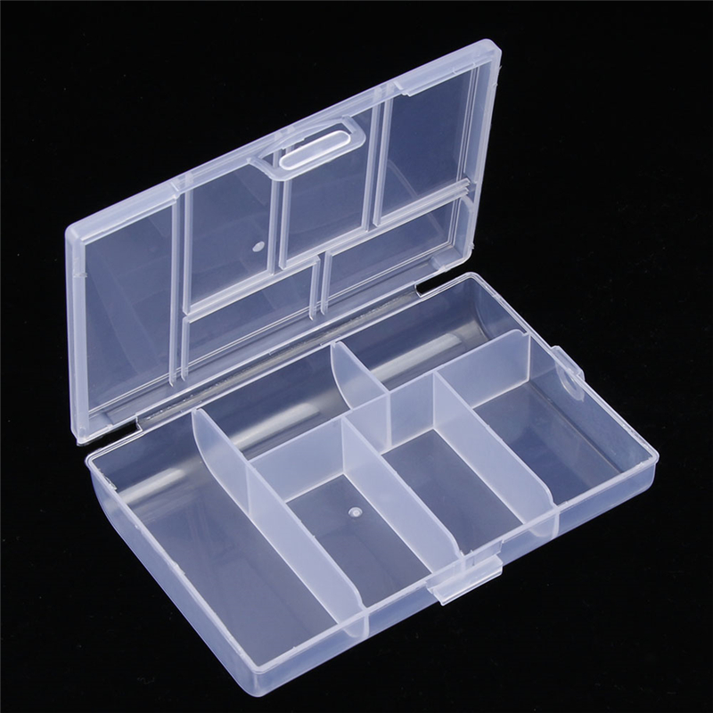 6 Grids Cheap Transparent Plastic Storage Box for Small Component Jewelry Tool Box Bead Pills Organizer Sewing Tool Nail Art Cas