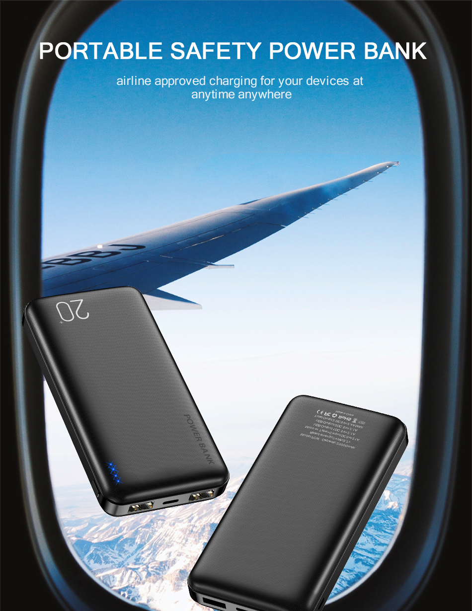 FLOVEME Portable Power Bank With 20000mAh External Battery For iPhone 13