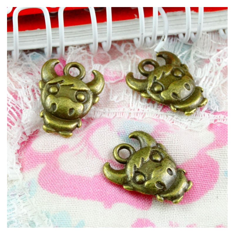 80pcs Charms Cow Bull Ox 12x15mm Antique Bronze Plated Pendants Making DIY Handmade Jewelry