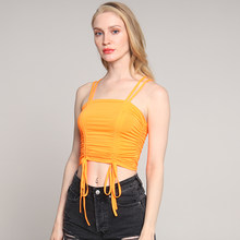 Summer Sexy Female Slim Crop Top Women Sleeveless Straps Tank Top Solid Fitness Lady Sling lace-up Drawstring Tube Top Wearing(China)