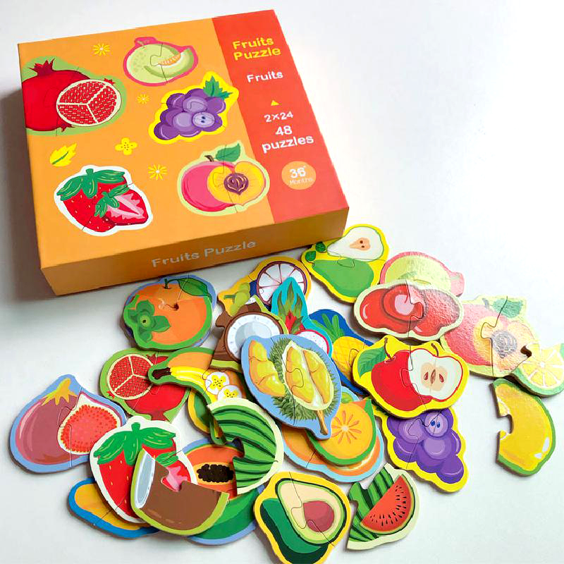 Wooden 48 Pieces Of Jigsaw Puzzle Toys Gifts Animals/fruits/vegetables Montessori Educational Two Pieces Of Puzzle Matching Game