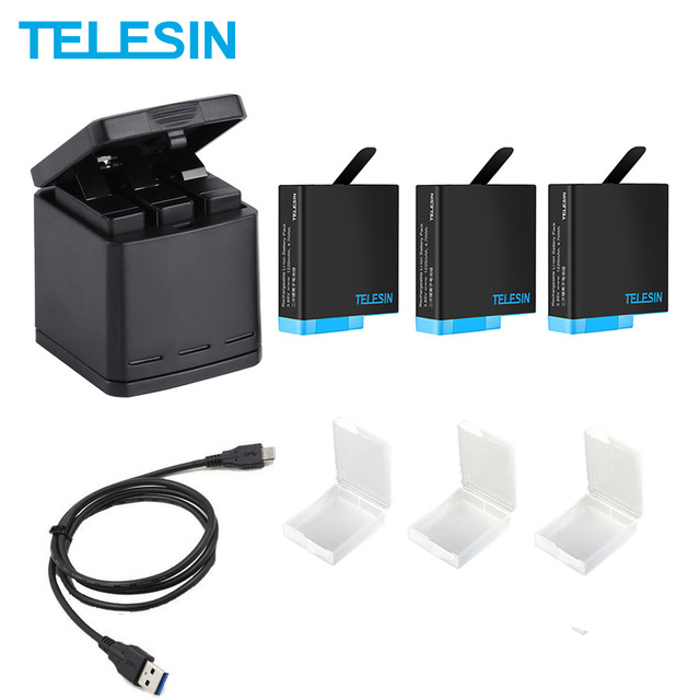 TELESIN 3 Khe Cắm Đèn Pin LED Sạc Hộp Bảo Quản + Tặng 3 Bộ Pin + Cáp Type C Cho GoPro Hero 5 6 7 8 Phụ Kiện