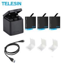 TELESIN 3 Slots LED Batterie Ladegerät Lagerung Box + 3 Batterie Pack + Typ C Kabel für GoPro Hero 5 6 7 8 kamera Zubehör
