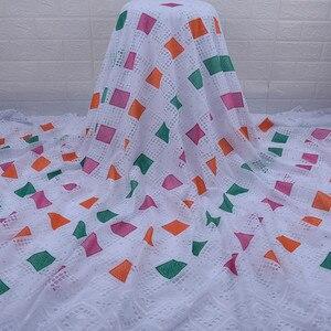 Image 3 - Son afrika dantel kumaş yüksek kaliteli nijeryalı günü dantel kumaş delikli nakış İsviçre saf pamuklu kumaş günlük WearA1754