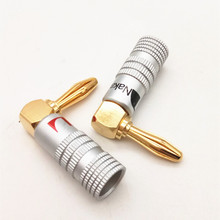 2Pcs 4mm 24K Gold-Plated Musical Cable Wire Banana Plug Audio Speaker Connector Musical Speaker Cable Wire Pin Connector 4pcs gold plated 24k banana plugs nakamichi right angle 4mm banana plug for video speaker adapter audio wire cable connector