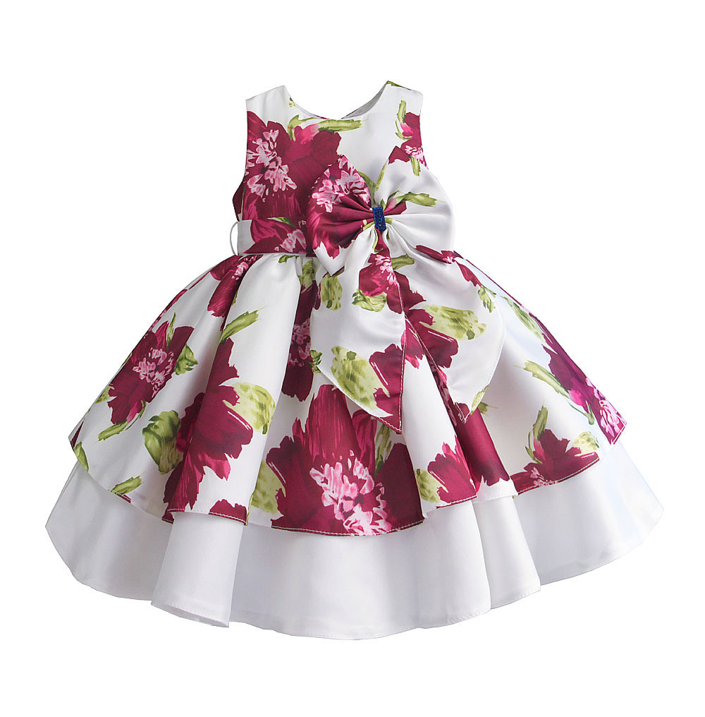 Zoeflower New Style Satin Printed Bow GIRL'S Vest Formal One-piece Dress Cake Tutu