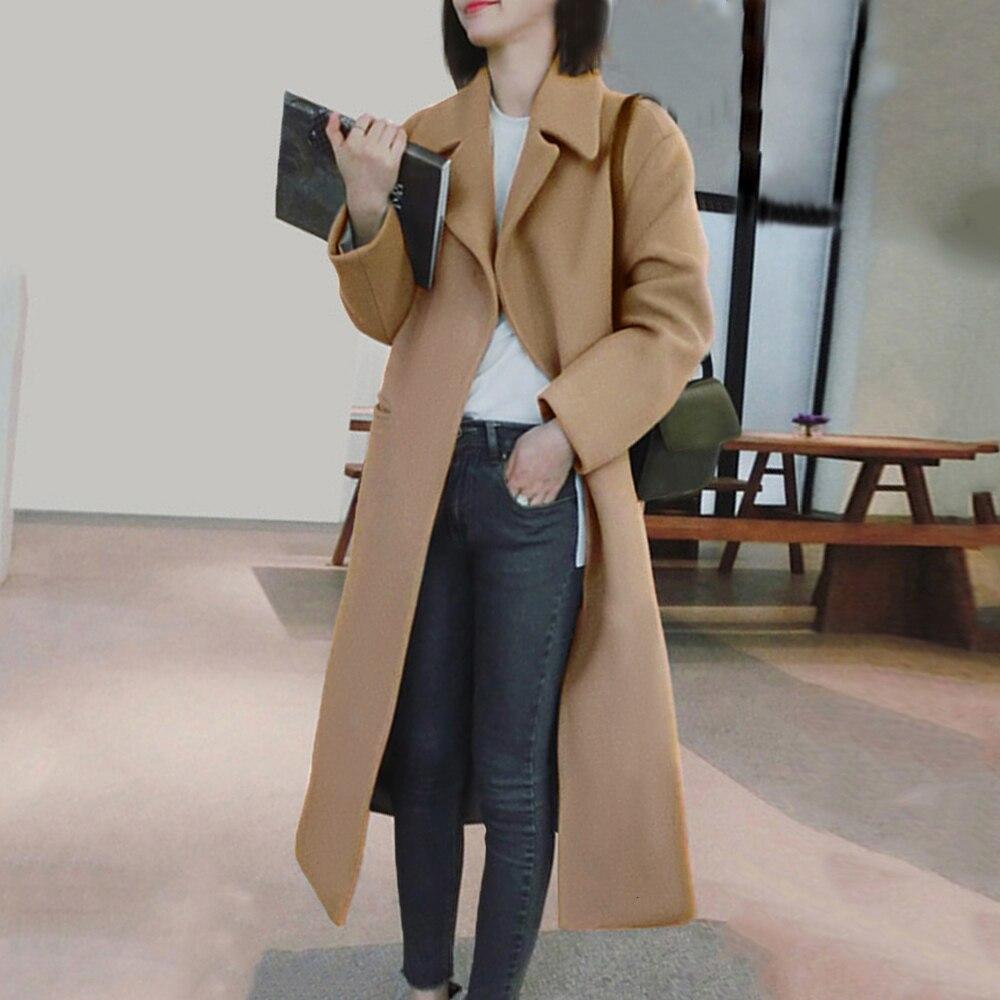 Autumn Winter Coat Women Full Sleeve Wool Blend Ladies Long Coats Turn-down Collar Warm Tops Women's Outwear Abrigo Mujer New