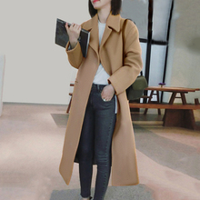 Autumn Winter Coat Women Full Sleeve Wool Blend Ladies Long