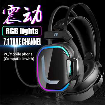 Gaming Headsets USB Wired headphones PC PS4 Headsets Surround Sound RGB light HD Microphone Gaming Overear Laptop Tablet Gamer 2
