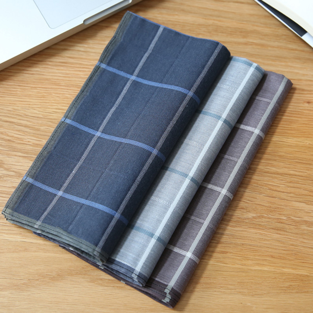 4 Pcs Handkerchiefs  43 X 43 Cm Man Plaid Pocket Square Made Of 100% Organic Cotton Hanky Towel For Wedding Party